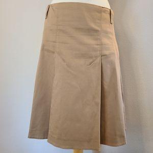 Burberry Tan Pleated Midi Skirt